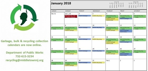 Garbage Collection Calendar